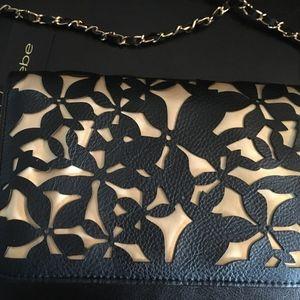 Bebe Bags - Bebe Laser Cut Black on Gold Crossbody Gold Chain